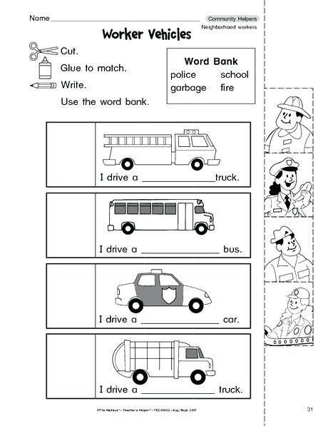 And Worksheets For And Kindergarten Community Helpers Worksheet