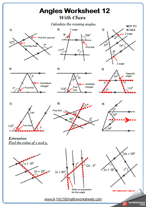 Angles On Parallel Lines Worksheets