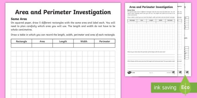 Area And Perimeter Worksheets Pdf