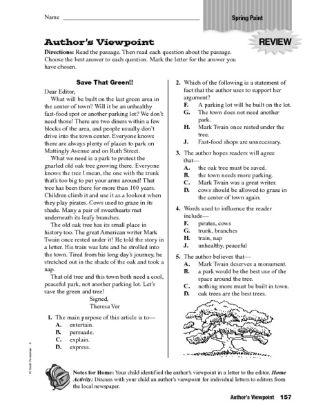 Authors Viewpoint Save That Green Worksheet For Th Th Grade