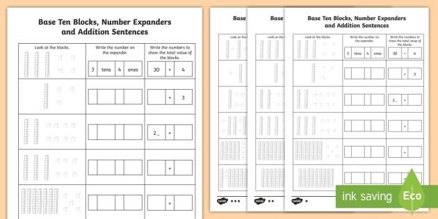 Base Ten Blocks  Number Expanders And Addition Worksheets