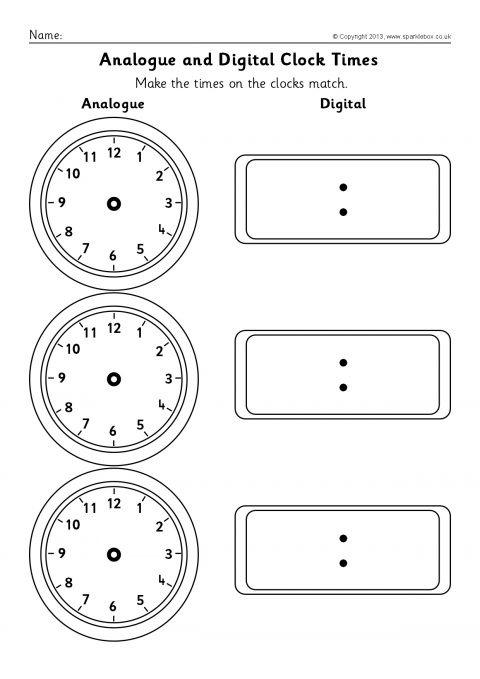 Blank Analogue And Digital Clock Times Worksheets Sb