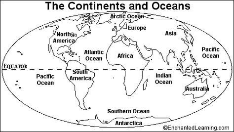 Blank Continents And Oceans Worksheets Quiz Printout