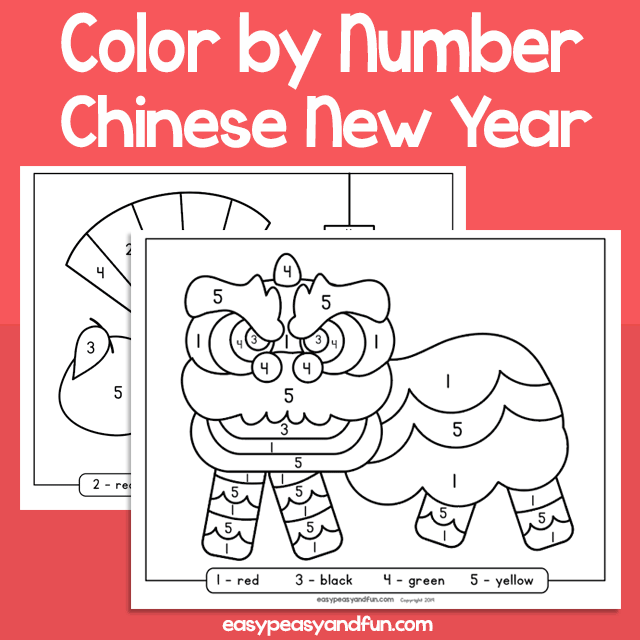 Chinese New Year Worksheets Color By Number For Kids Code Page