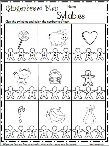 Christmas Gingerbread Syllables Worksheet
