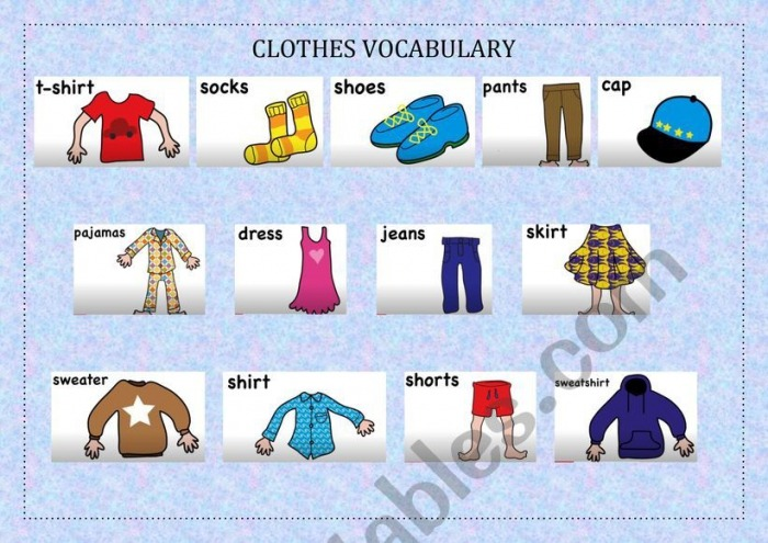 Clothes Vocabulary About The Song Clothing Song For Kids