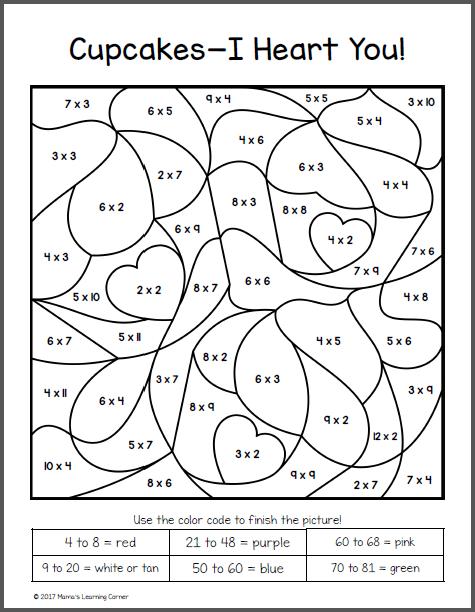 Color By Number Multiplication  Coloringrocks