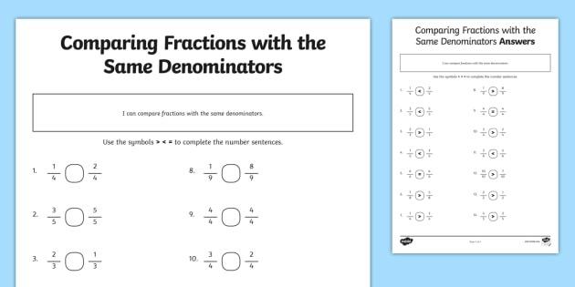 Comparing Fractions With Different Denominators Worksheet  Worksheet