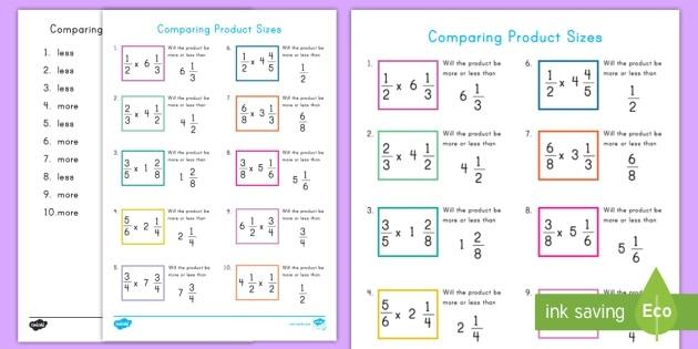 Comparing Product Sizes Worksheet  Worksheet Teacher Made