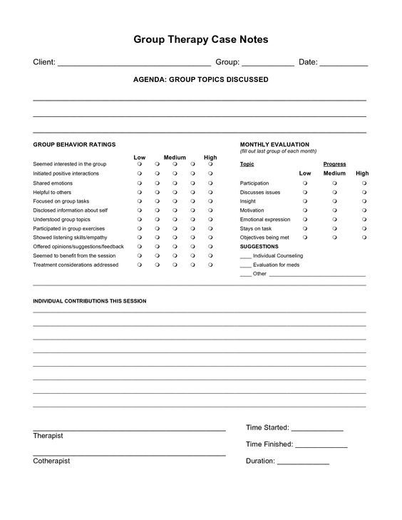 Counseling Progress Note Template