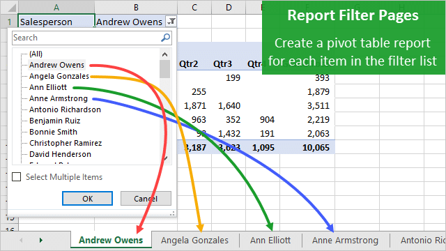 Create Multiple Pivot Table Reports With Show Report Filter Pages