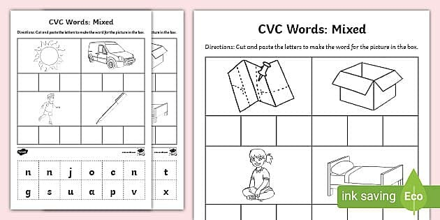 Cvc Words Cut And Paste Worksheet  Activity Sheets Mixed