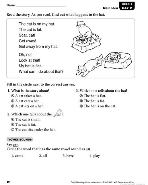 Daily Reading Comprehension Grade