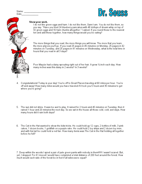Dr Seuss Worksheets Rdrade