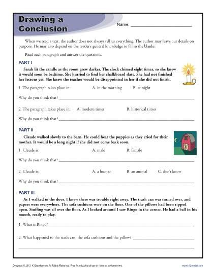 Drawing Conclusions Worksheets For Th Grade