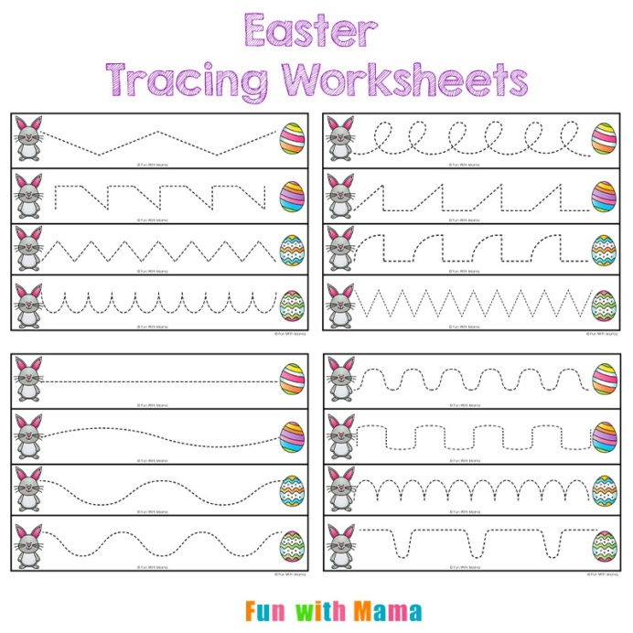 Easter Tracing Worksheets For Preschoolers Fun With Mama Bunny