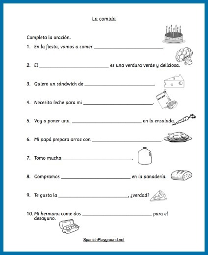 Elementary Spanish Worksheets Lessons List Of Words Free Online