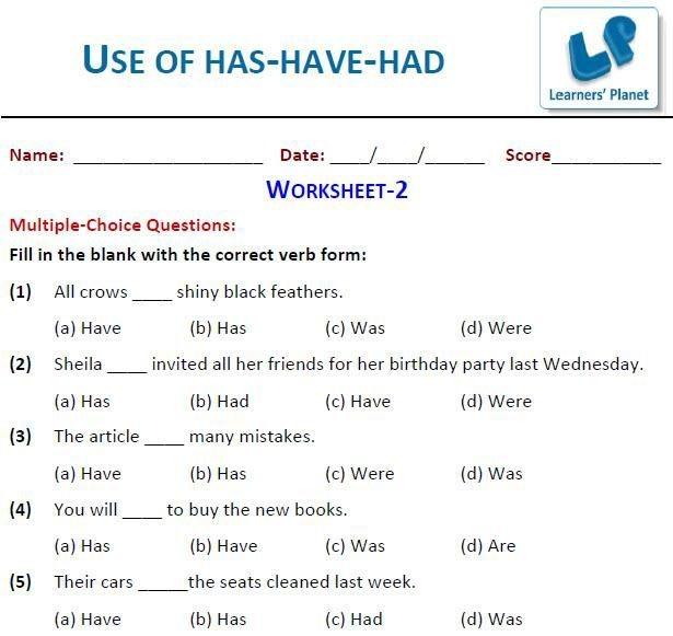 English Grammar Worksheets For Grade