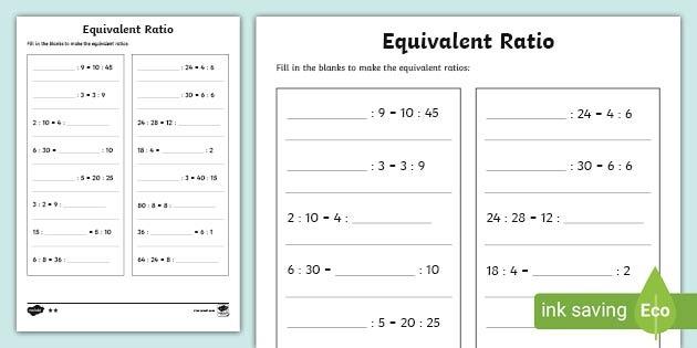 Equivalent Ratio Worksheet Teacher Made