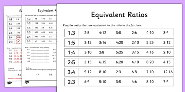 Equivalent Ratios Worksheet  Worksheet Teacher Made