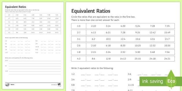 Equivalent Ratios Worksheet Teacher Made