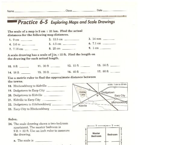 Exploring Maps And Scale Drawings Worksheet For Th Th Grade Map