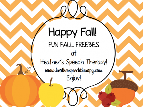 Fall Speech Therapy Worksheets And Activities  Heathers Speech