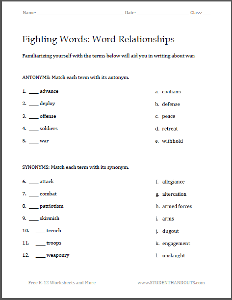 Fighting Words War Writing Worksheets