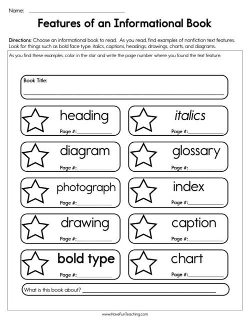 First Grade Text Features Worksheets  Have Fun Teaching