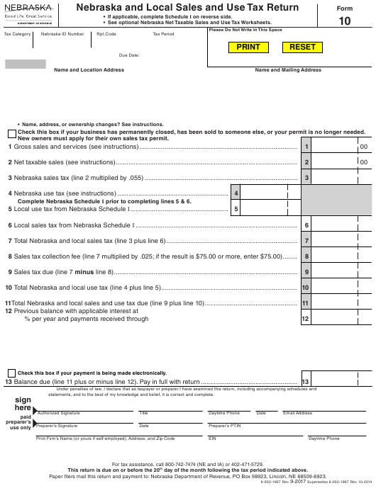 Form  Download Fillable Pdf Or Fill Online Nebraska And Local