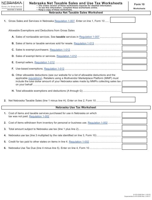 Form  Download Fillable Pdf Or Fill Online Nebraska Net Taxable