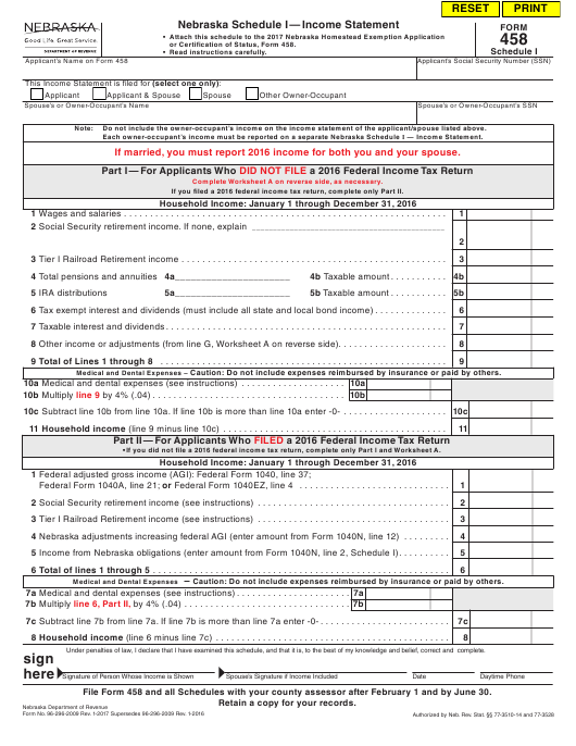 Form  Schedule I Download Fillable Pdf Or Fill Online Income