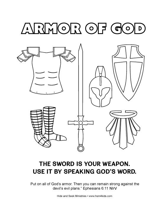Free Armor Of God Coloring Bible Activity Worksheet Easy To