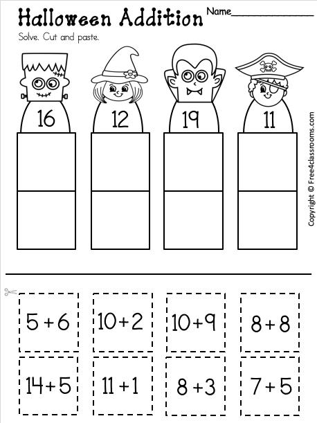 Free Kindergarten Addition Worksheet For Halloween