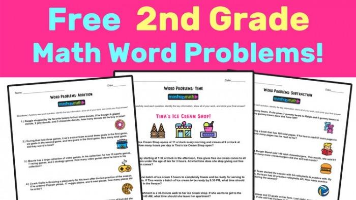 Free Nd Grade Math Word Problem Worksheets  Mashup Math