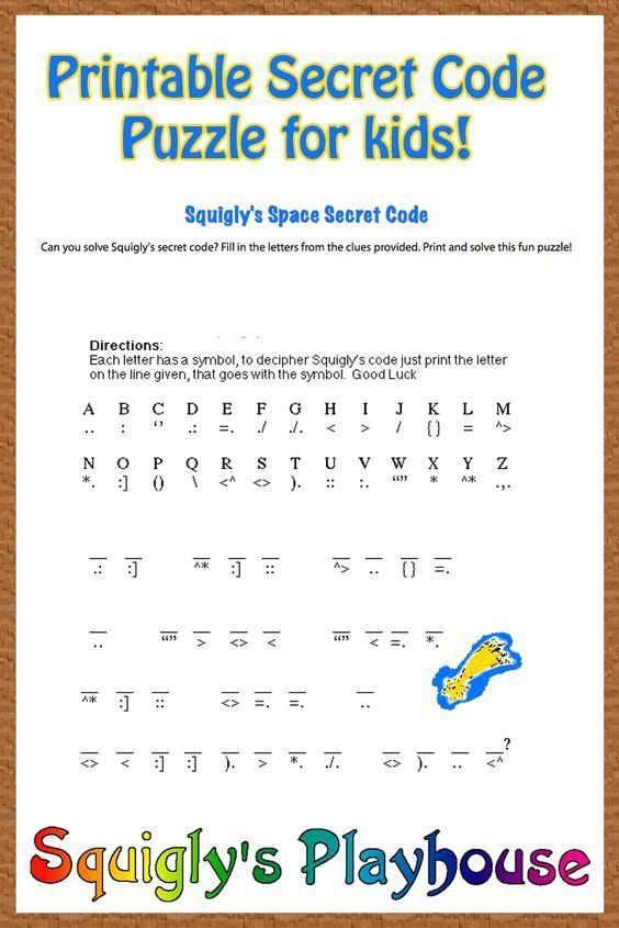 Free Printable Secret Code Word Puzzle For Kids This Puzzle Has A