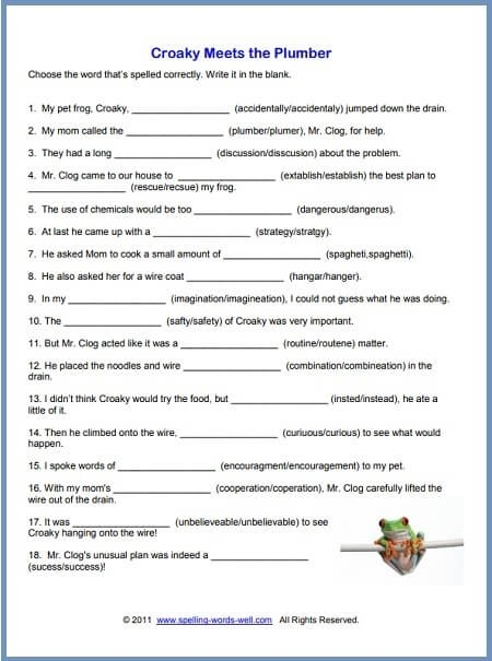 Free Printable Spelling Worksheets Th Grade Words Croaky One