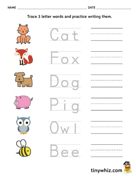 Free Printable Trace And Write Letter Words Tiny Three Phonics