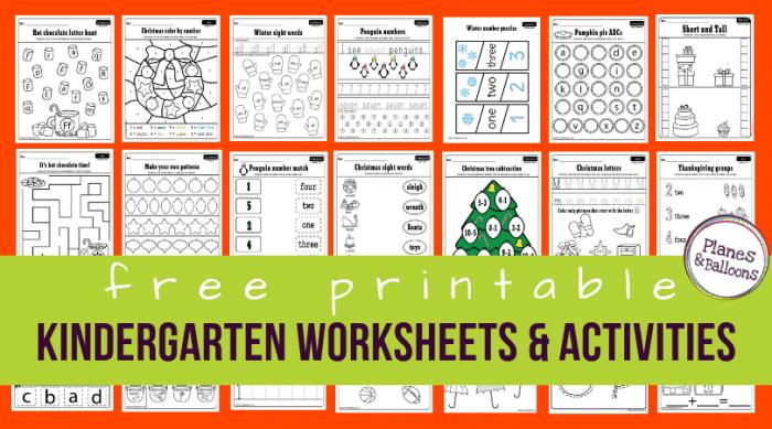 Free Printable Worksheets For Kindergarten Pre K Instant Download