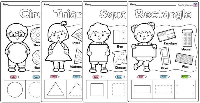 Free Shapes Worksheets Foreschoolers Teachersmageschool Go Math
