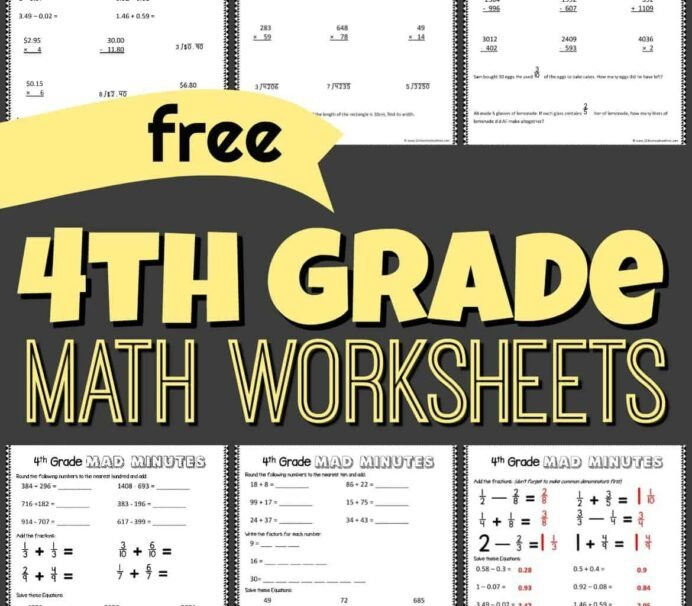 Free Th Grade Math Worksheets Fractions Visual Problems