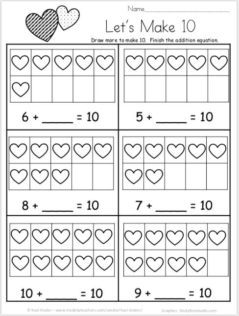 Free Valentines Day Math Worksheets For Kindergarten Addition