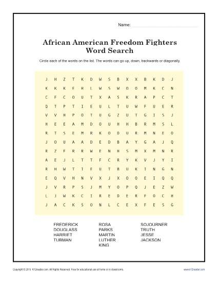 Freedom Fighter Word Search Black History Month Worksheets St