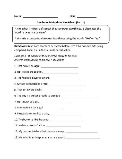 Funsheets Math For Middle School Free Simile Science Kids Metaphor