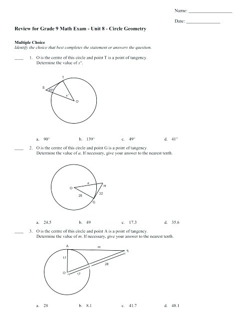 Geometry Final Exam Review Worksheet Circle