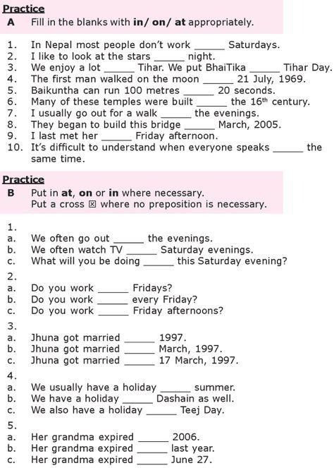 Grade  Grammar Lesson  At  On And In Prepositions Of Time