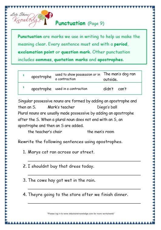 Grade  Grammar Topic  Punctuation Worksheets