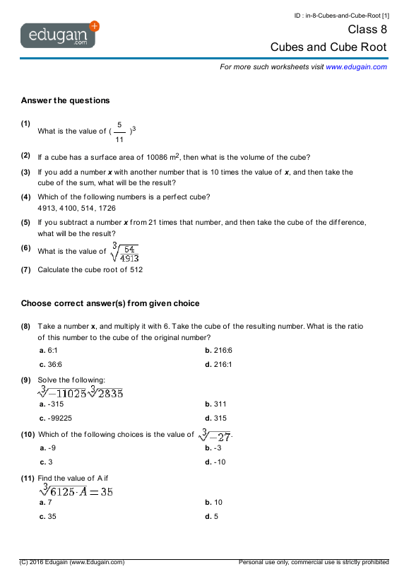 Grade  Math Worksheets And Problems Cubes And Cube Root