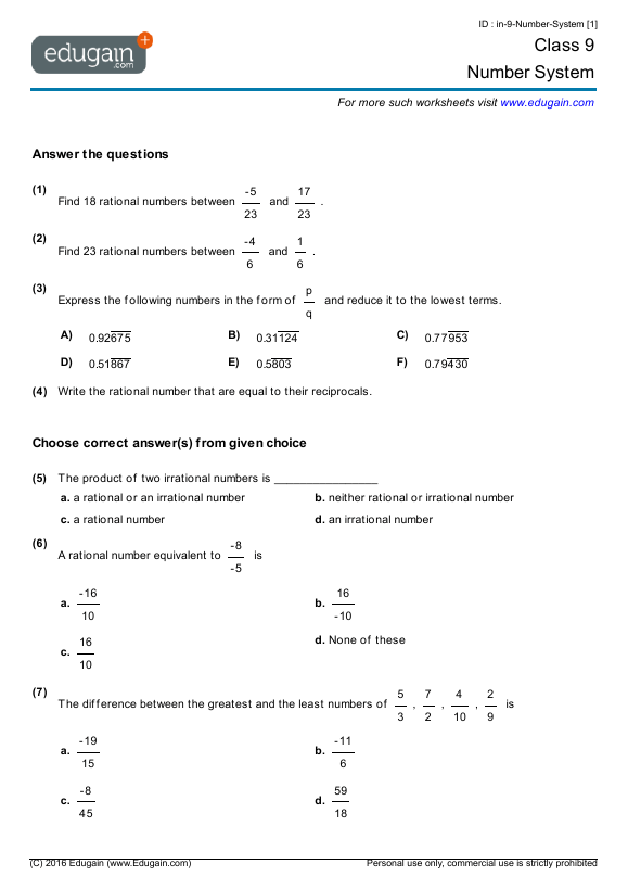 Grade  Math Worksheets And Problems Number System