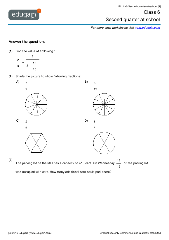 Grade  Math Worksheets And Problems Second Quarter At School